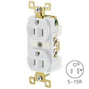 Bryant BRY5262W TECHSPEC® Industrial Grade Duplex Receptacle, 15A, 125V, White