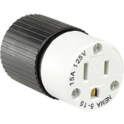 Bryant BRY5269NC TECHSPEC® Straight Blade Connector, 15A, 125V, Black/White