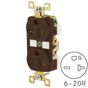 Bryant BRY5462 TECHSPEC® Industrial Grade Duplex Receptacle, 20A, 250V, Brown