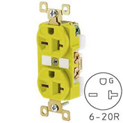 Bryant BRY5462CR TECHSPEC® Industrial Grade Duplex Receptacle, 20A, 250V, Yellow