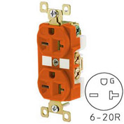 Bryant BRY5462IG TECHSPEC® Industrial Grade Duplex Receptacle, 20A, 250V, Orange