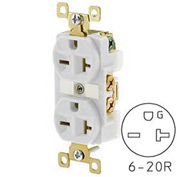 Bryant BRY5462W TECHSPEC® Industrial Grade Duplex Receptacle, 20A, 250V, White