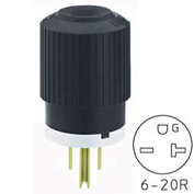 Bryant BRY5466NP TECHSPEC® Straight Blade Plug, 20A, 250V, Black/White