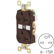 Bryant BRY5662 TECHSPEC® Industrial Grade Duplex Receptacle, 15A, 250V, Brown