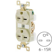Bryant BRY5662I TECHSPEC® Industrial Grade Duplex Receptacle, 15A, 250V, Ivory, Self Ground