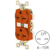 Bryant BRY5662IG TECHSPEC® Industrial Grade Duplex Receptacle, 15A, 250V, Orange