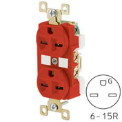 Bryant BRY5662RED TECHSPEC® Industrial Grade Duplex Receptacle, 15A, 250V, Red