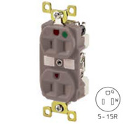 Bryant BRY8200GRY TECHSPEC® Hospital Grade Duplex Receptacle, 15A, 125V, Gray, Self Ground