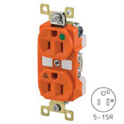 Bryant BRY8200IG TECHSPEC® Hospital Grade Duplex Receptacle, 15A, 125V, Orange