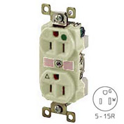 Bryant BRY8200IL TECHSPEC® Hospital Grade Duplex Receptacle, 15A, 125V, Ivory, Lighted Face