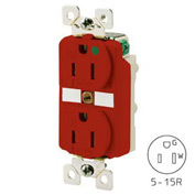 Bryant BRY8200RTR TECHSPEC® Hospital Grade Duplex Receptacle, 15A, 125V, Red