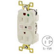 Bryant BRY8200W TECHSPEC® Hospital Grade Duplex Receptacle, 15A, 125V, White, Self Ground