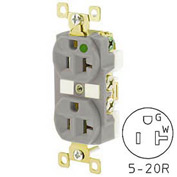 Bryant BRY8300GRYL TECHSPEC® Hospital Grade Duplex Receptacle, 20A, 125V, Gray, Lighted Face