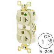 Bryant BRY8300IL TECHSPEC® Hospital Grade Duplex Receptacle, 20A, 125V, Ivory, Lighted Face