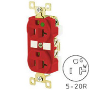 Bryant BRY8300RED TECHSPEC® Hospital Grade Duplex Receptacle, 20A, 125V, Red, Self Ground