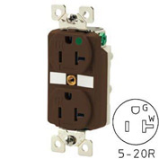 Bryant BRY8300TR TECHSPEC® Hospital Grade Duplex Receptacle, 20A, 125V, Brown