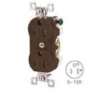 Bryant CBRS15 Commercial Grade Duplex Receptacle, 15A, 125V, Brown, Self Ground