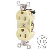 Bryant CBRS15AL Commercial Grade Duplex Receptacle, 15A, 125V, Almond, Self Ground