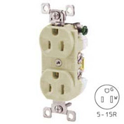 Bryant CBRS15I Commercial Grade Duplex Receptacle, 15A, 125V, Ivory, Self Ground