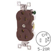 Bryant CBRS20 Commercial Grade Duplex Receptacle, 20A, 125V, Brown, Self Ground