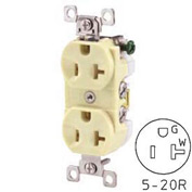 Bryant CBRS20AL Commercial Grade Duplex Receptacle, 20A, 125V, Almond, Self Ground