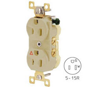 Bryant CR15IGI Commercial Grade Duplex Receptacle, 15A, 125V, Ivory, Isolated Ground
