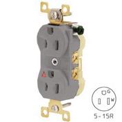 Bryant CR15IGRY Commercial Grade Duplex Receptacle, 15A, 125V, Gray, Isolated Ground