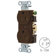 Bryant CRS15 Commercial Grade Duplex Receptacle, 15A, 125V, Brown
