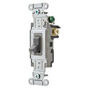 Bryant CSB115BGRY Commercial Grade Toggle Switch, Single Pole, 15A, 120/277V AC, Gray