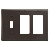 Bryant NP1262 Toggle Styleline Combo Plate, 3-Gang, Standard, Brown Nylon, 2 Toggle