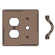 Bryant NP128 Duplex Telephone Combo Plate, 2-Gang, Standard, Brown Nylon