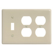 Bryant NP182I Toggle Duplex Combo Plate, 3-Gang, Standard, Ivory Nylon