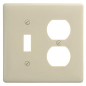 Bryant NP18I Toggle Duplex Combo Plate, 2-Gang, Standard, Ivory Nylon