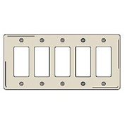 Bryant NP265LA Styleline Rectangular Plate, 5-Gang, Standard, Light Almond, Nylon