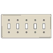 Bryant NP5LA Toggle Plate, 5-Gang, Standard, Light Almond, Nylon