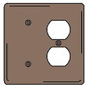Bryant NPJ138 Blank Duplex Combo Plate, 2-Gang, Mid-Size, Brown Nylon