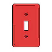 Bryant NPJ1R Toggle Plate, 1-Gang, Mid-Size, Red Nylon