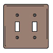 Bryant NPJ2 Toggle Plate, 2-Gang, Mid-Size, Brown Nylon
