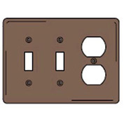 Bryant NPJ28 Toggle Duplex Combo Plate, 3-Gang, Mid-Size, Brown Nylon