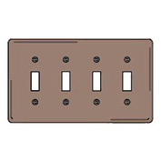 Bryant NPJ4 Toggle Plate, 4-Gang, Mid-Size, Brown Nylon