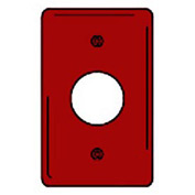 Bryant NPJ7R Single Receptacle Plate, 1-Gang, Mid-Size, Red Nylon, 1.40 open