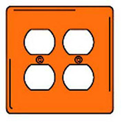 Bryant NPJ82CO Duplex Plate, 2-Gang, Mid-Size, Orange, Nylon