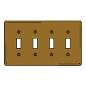 Bryant SB4 Toggle Plate, 4-Gang, Standard, Brass