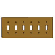 Bryant SB6 Toggle Plate, 6-Gang, Standard, Brass