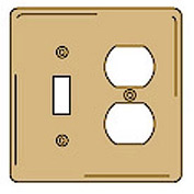 Bryant SBP18 Toggle Duplex Combo Plate, 2-Gang, Standard, Brass Plated