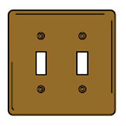Bryant SBP2 Toggle Plate, 2-Gang, Standard, Brass Plated