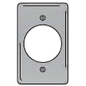 Bryant SS723 Single Receptacle Plate, 1-Gang, Standard, Satin Stainless, 2.15 open