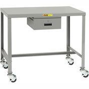 Little Giant®  Machine Table, 24 x 48 x 30, Swivel Casters w/Brakes, Drawer