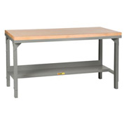 "Little Giant® 72""W x 30""D Maple Butcher Block Square Edge, Welded Workbench, Adjustable Height"