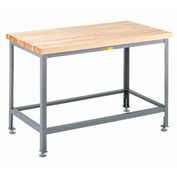 "Little Giant® 48""W x 24""D Maple Butcher Block Square Edge Top Table, Adjustable Leg"